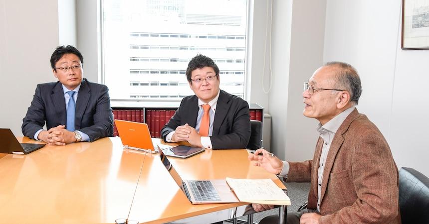 写真右から二又 俊文氏(東京大学未来ビジョン研究センター客員研究員、シニアリサーチャー)、池田 毅弁護士(池田・染谷法律事務所 代表弁護士)、松永 章吾弁護士(ゾンデルホフ&アインゼル法律特許事務所パートナー弁護士・弁理士)