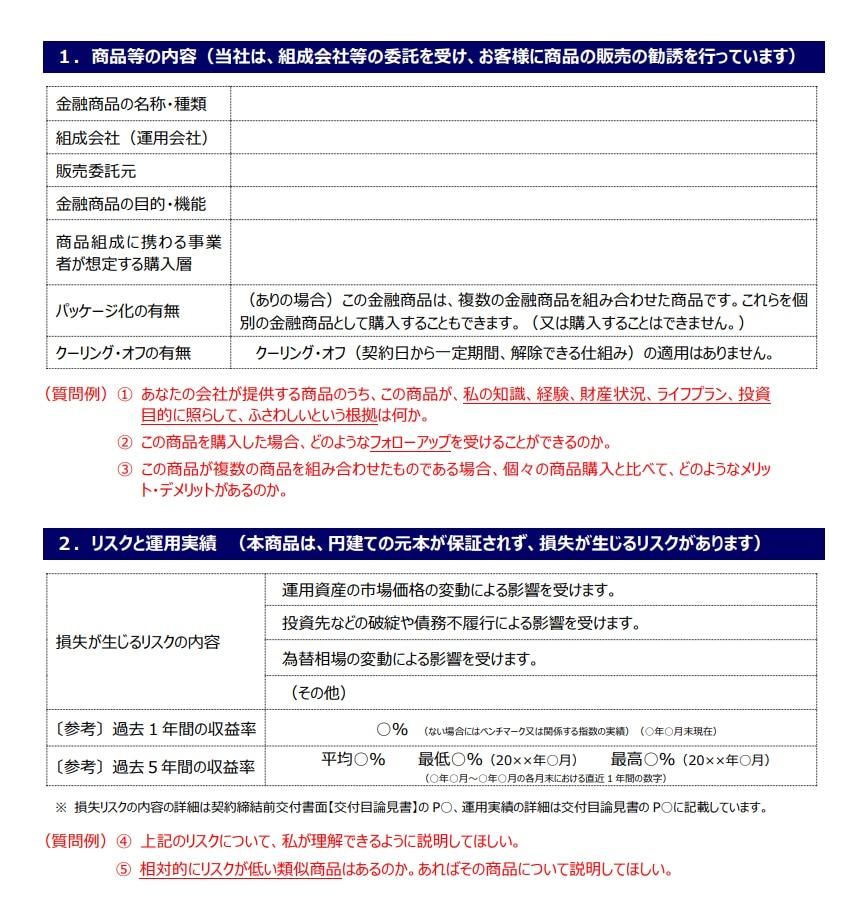 一定の投資性金融商品の販売・販売仲介に係る「重要情報シート」フォーマット(例)(個別商品編)