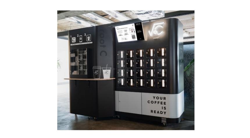 ロボットを用いた無人カフェの営業の実証の様子