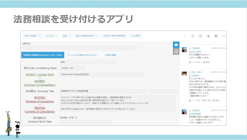 kintoneで開発された「法務統制相談箱アプリ」
